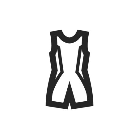 Triathlon suit icon in thick outline style. Black and white monochrome vector illustration.