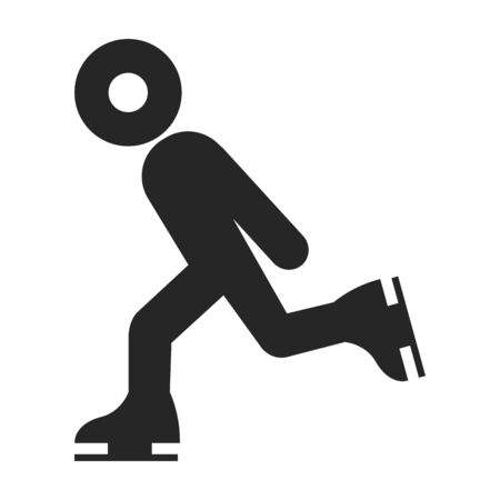 Ice skating icon in thick outline style. Black and white monochrome vector illustration. 일러스트