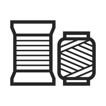 Yarn icon in thick outline style. Black and white monochrome vector illustration. Illusztráció