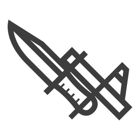 Bayonet knife icon in thick outline style. Black and white monochrome vector illustration.