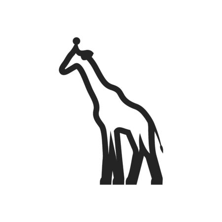 Giraffe icon in thick outline style. Black and white monochrome vector illustration.
