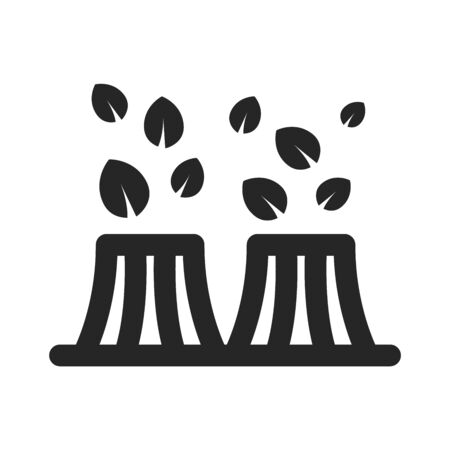 Nuclear plant with leaves icon in thick outline style. Black and white monochrome vector illustration.