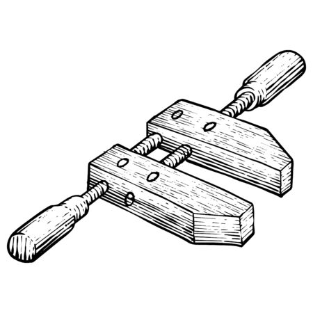 Wooden Clamp icon in sketch style. Woodworking tool vector illustration. Illustration