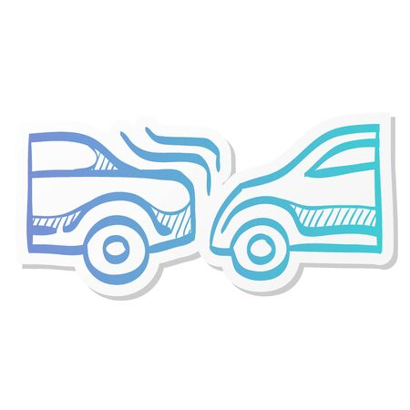 Car crash icon in sticker color style. Automotive accident incident insurance claim