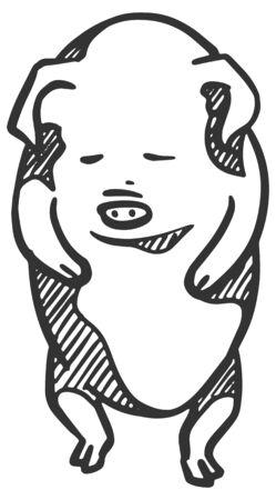 Hand drawn pig illustration. Animal character concept.