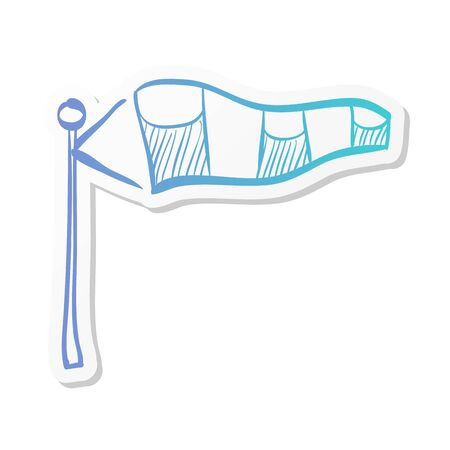 Windsock icon in sticker color style. Air wind direction indicate aviation instrument Çizim