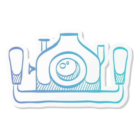 Underwater camera icon in sticker color style. Photography sea water diving animal documentary Illustration