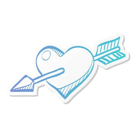 Arrow heart icon in sticker color style. Love Valentine cupid flirt