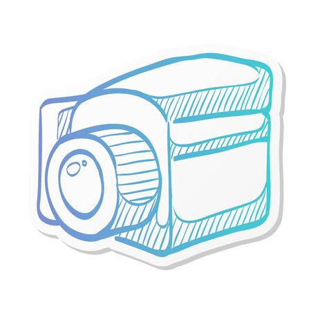 Camera icon in sticker color style. Vintage retro photography photo mechanical analog film shooting medium format