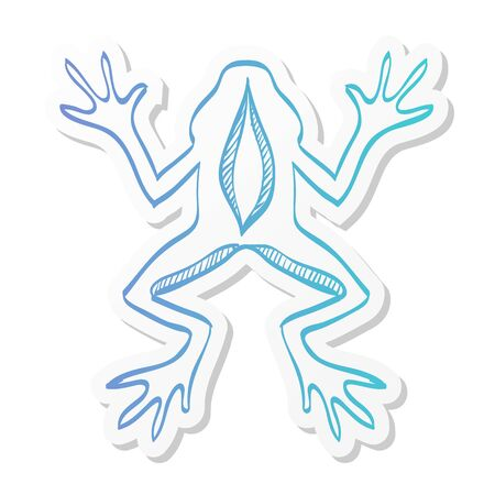 Lab frog icon in sticker color style. School experiment biology lesson study Иллюстрация