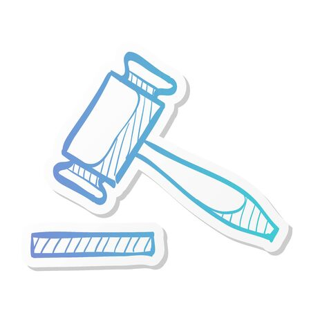 Wood hammer icon in sticker color style. Law justice judge auction bidder