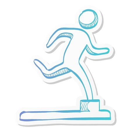 Athletic trophy icon in sticker color style. Running triathlon decathlon competition sport