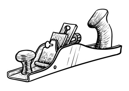 Hand plane icon in sketch style. Woodworking tool vector illustration.