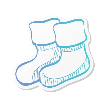 Winter sock icon in doodle sketch lines.
