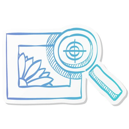 Printing quality control icon in sticker color style. Print shop service publisher desktop publishing Illustration