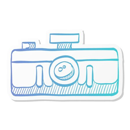 Panorama camera icon in sticker color style. Landscape nature architecture photography lens Ilustración de vector