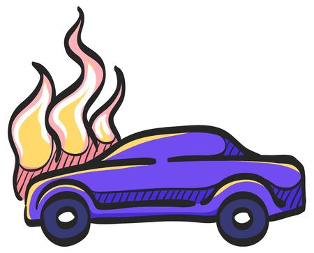Car on fire icon in color drawing. Automotive transportation accident accident burned insurance claim Illustration