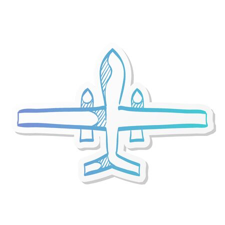Unmanned aerial vehicle icon in sticker color style. Aviation technology military drone modern warfare