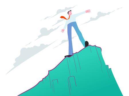 Man standing on steep cliff. Businessman, business challenge concept. Vector illustration