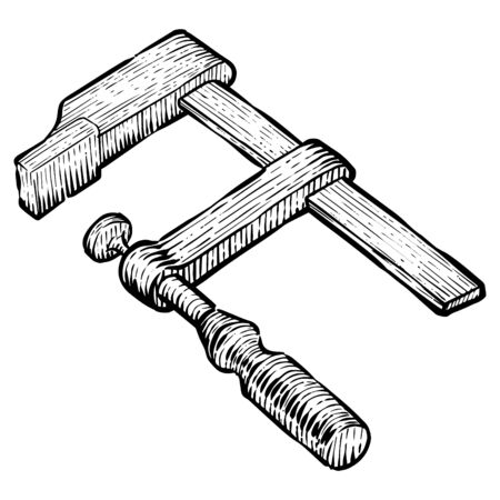 Clamp icon in sketch style. Woodworking tool vector illustration.