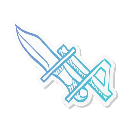 Bayonet knife icon in sticker color style. Weapon vintage riffle assault army war battle danger dagger
