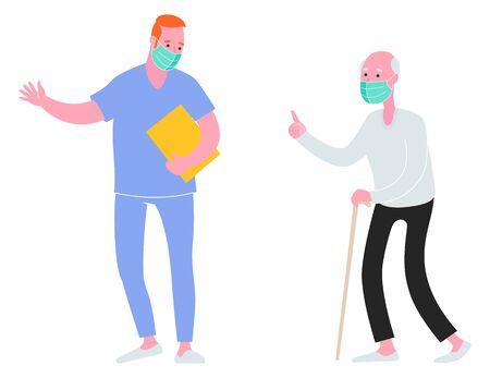 Male nurse helping an elderly man. Healthcare, hospital admission. Vector illustration.