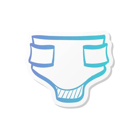 Diaper icon in sticker color style. Baby toddler elder urination piss Vector Illustration
