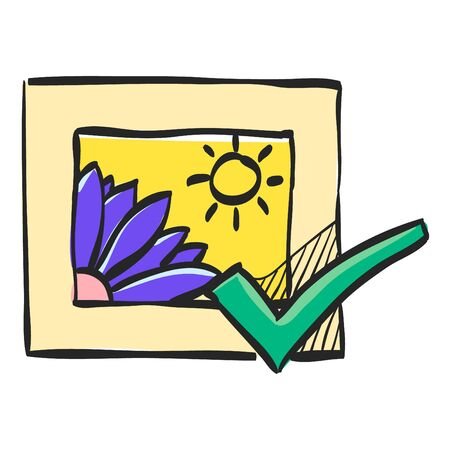 Printing approval icon in color drawing. Print shop service publisher desktop publishing Illustration