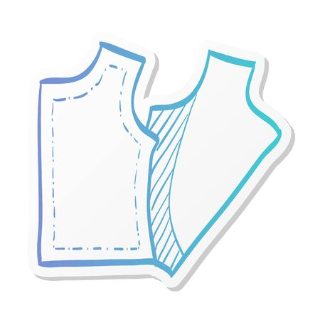 Sewing pattern icon in sticker color style. Fashion tailor dressmaker industry