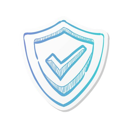 Shield icon with checkmark in sticker color style. Protection guard safety