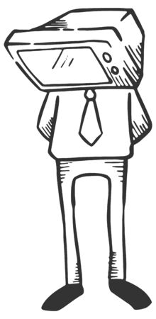 Businessman with television head. Business concept. Hand drawn vector illustration.