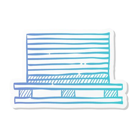 Printing stack icon in sticker color style. Print shop service publisher desktop publishing