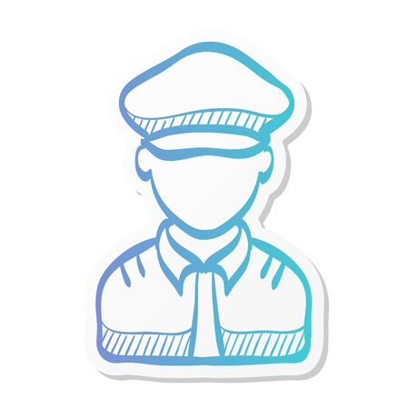 Pilot avatar icon in sticker color style. People aviation airplane aircraft control