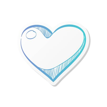 Heart shape icon in doodle sketch lines.