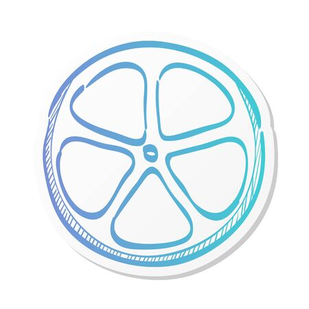 Bicycle wheel icon in sticker color style. Sport cycling race single track tubular