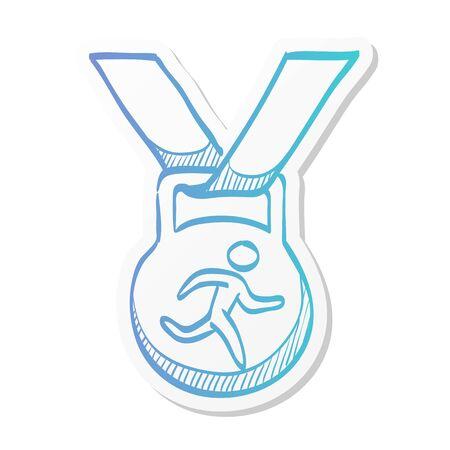 Athletic medal icon in sticker color style. Sport sprinter triathlon marathon prize