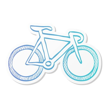 Track bike icon in sticker color style. Bicycle racing road velodrome sport competition Stock Illustratie
