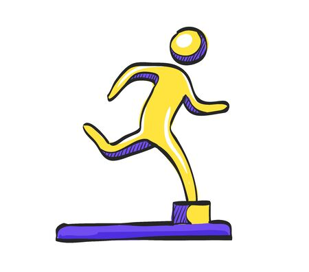Athletic trophy icon in color drawing. Running triathlon decathlon competition sport