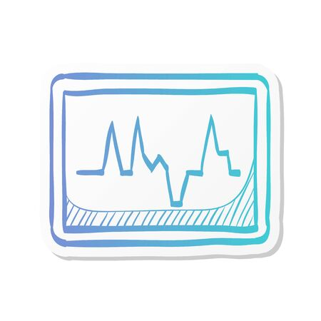 Heart rate monitor icon in sticker color style. Medical health care digital surveillance patients critical coma