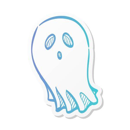 Halloween ghost icon in sticker color style. Spooky fear frighten treat threat Ilustração