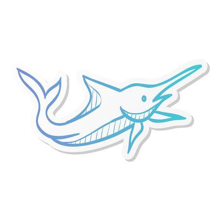 Fish icon in sticker color style. Sea creature animal cute pets 向量圖像