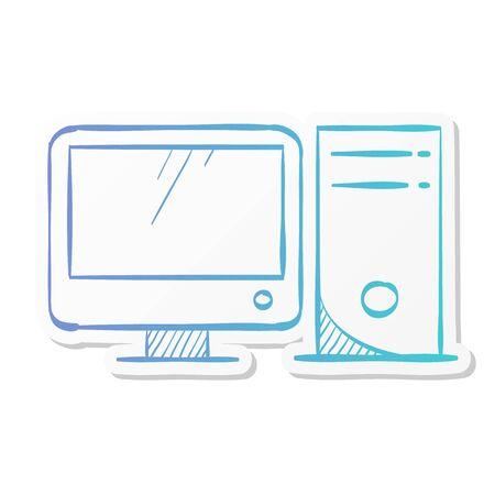 Online education icon in sticker color style. Education college student success graduation diploma online e-learning webinar internet Vektorgrafik