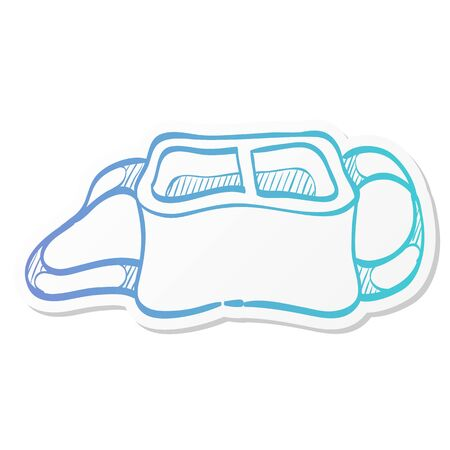 Camera bag icon in sticker color style. Case luggage carrying strap Vettoriali