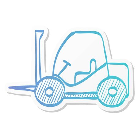Forklift icon in sticker color style. Industrial vehicle work warehouse shipping inventory Ilustracja