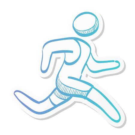 Running athlete icon in sticker color style. Marathon triathlon competition sport
