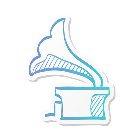 Gramophone icon in sticker color style. Music instrument player listen nostalgia