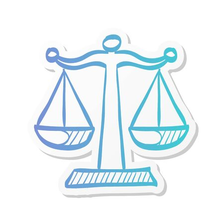 Justice scale icon in sticker color style. Law litigation measurement balance Illustration