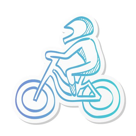 Cycling icon in sticker color style. Road race tour triathlon time trial pursuit sport bicycle