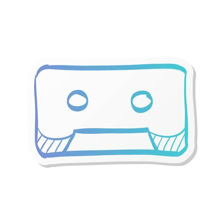 Tape cassette icon in sticker color style. Technology vintage old records music audio