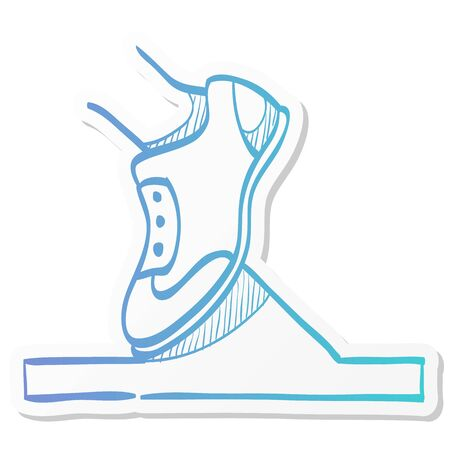 Starting block icon in sticker color style. Sport sprint running get set ready go